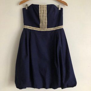 Lilly Pulitzer Navy & Gold Strapless Dress